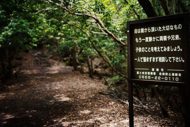 Aokigahara (Jurai) Foresta dei Suicidi - Cartellone per disincentivare i suicidi