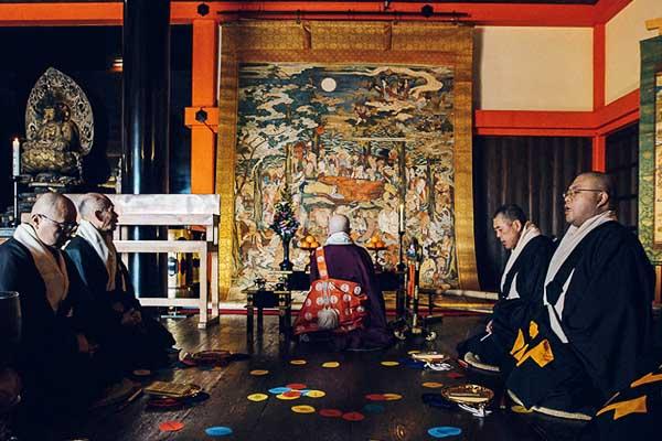 Cerimonia Nehan-e del Buddha che raggiunge il Nirvana