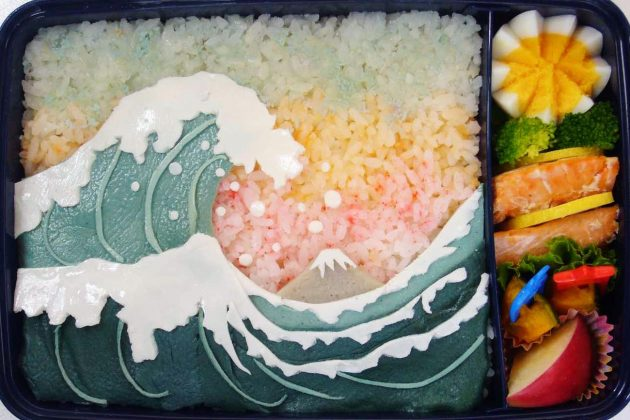 Bento con l'onda di Hokusai