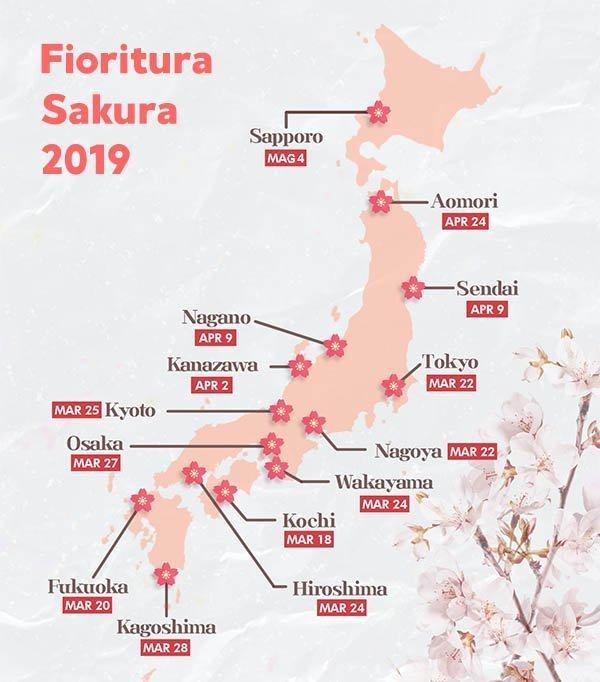 Fioritura dei ciliegi in Giappone, calendario